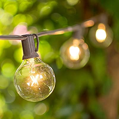 Globe String Lights, 2 Inch E12 Glass Bulbs, 50 Foot Brown Wire C7 Strand, Indoor/Outdoor, End to End Connectable, Incandescent Bulbs Included/Replaceable, Patio Bistro Lights, Venue Wedding, Clear