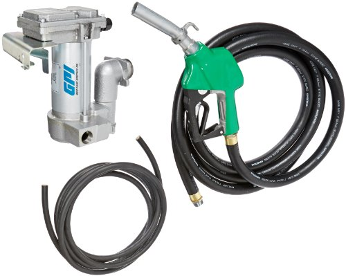 GPI 133265-04, M-3025CB-AD High Flow Cast Iron Fuel Transfer Pump, 12-VDC, 25 GPM, 1-Inch NPT X 18-Foot Fuel Hose, Automatic Diesel Nozzle, 18-Foot Power Cord, Weight Centering Base by GPI® The Proven Choice®