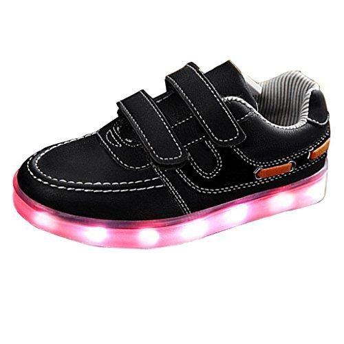 (Present:kleines Handtuch)JUNGLEST® Unisex Kids Light Up Sport Laufschuhe USB-Lade-LED Luminous Flashing Turn Schwarz