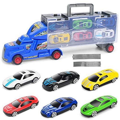 comfi1 Portable Vehicles with Mini Trucks Slide Tracks Toy Cars Children Kid Toys Include 6 Cars (Blue)