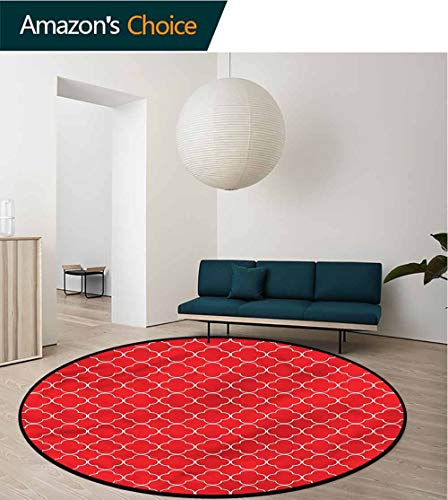 RUGSMAT Quatrefoil Washable Creative Modern Round Rug,Quatrefoil Arabesque Non-Slip Soft Floor Mat Home Decor Round-51 ()