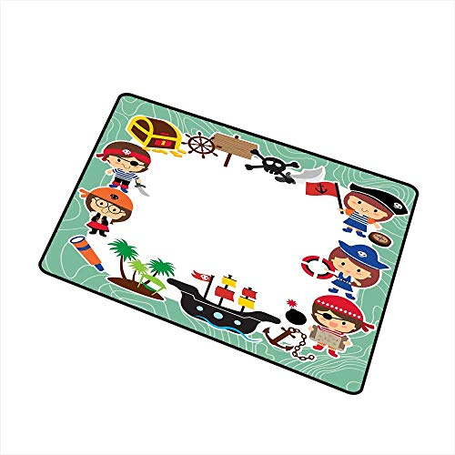 RelaxBear Kids Party Front Door mat Carpet Pirate Explorer Children in Cartoon Style Treasure Chest Ship Tropical Island Machine Washable Door mat W31.5 x L47.2 Inch Multicolor