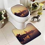 aolankaili 2 Piece Bathroom Contour Rugs Taj Mahal India Seven Wonders Concept Non Slip Comfortable Snd Soft