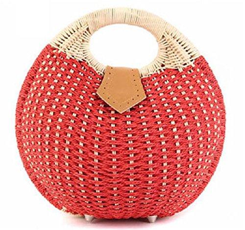 Bag The Bag Woven B800 Cane Shell Handbag Up LOVEVRETK Beach Makes Rural Red Bag Bag Straw Hobo HHPUSq