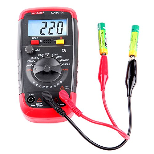 Multimeter Digital Capacitance Meter,cciyu Capacitor Tester 0.1pF to 20000uF with Hold Digital Function LCD Backlight Max 1999 Display,UA6013L Capacitance Meter