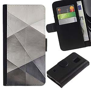 iBinBang / Flip Funda de Cuero Case Cover - Sheet Metal Papel Plata Polígono patrón - Samsung Galaxy S5 V SM-G900