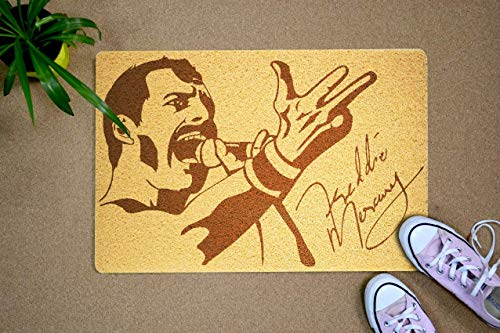 (Art Finds Boutique Freddie Mercury Door Mat Custom Queen Welcome Mat Home Supplies Outside Inside Décor Accessories Unique Gift Handmade Present Idea Original Design Personalized Doormat)