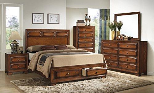 Roundhill Furniture Oakland 139 Antique Oak Finish Wood Bed Room Set, Queen Storage Bed, Dresser, Mirror, Night Stand, Chest