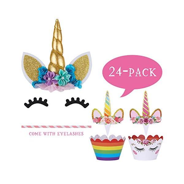 Unicorn Cake Topper with Eyelashes and Unicorn Cupcake Toppers & Wrappers Set - Unicorn Party Decorations Kit for… 8