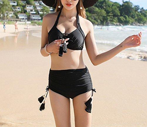 Bikini Nero Summer Raccogliere Bretelle Boxer Trio Girl bagno Swimsuit petto Split Skirt da piccolo Beach spa costume per HOMEE CwOqXnFUw