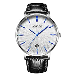 LONGBO Luxury Men's Black Croco Leather Band Analog Quartz Business Watch Automatically DATE Chrome Case Couple Dress Watch Waterproof Blue Hands White Dial Wristwatch For Man