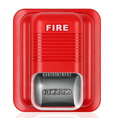 Flexzion Fire Alarm Horn Siren Strobe Quick Alert Safety System Sensor Sound and White Flash Light 24V in Red with Wall Mount for Home Office Hotel Restaurant