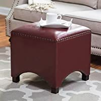 UUSSHOP Wood Seating Footstool Footrest Ottoman Pouffe Square Chair Foot Stool with Luxury Oil Wax Leather Cover, Handcrafted Rivets Edge-Sealing (Wine Red)