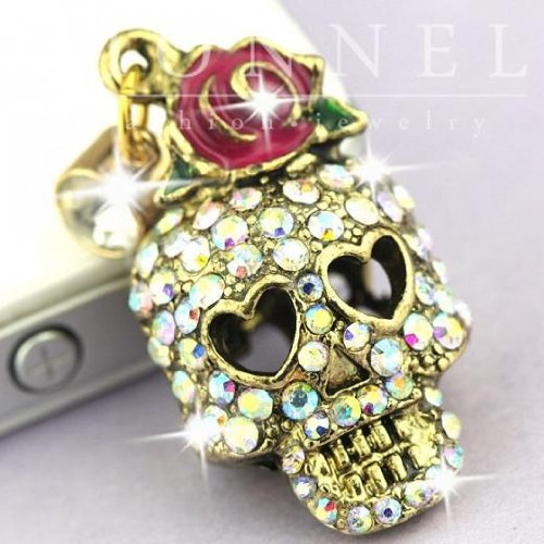 IP620-B Cute Crystal Skull Face Anti Dust Plug Cover Charm fit for iPhone Android ear jack 3.5mm