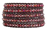 Chan Luu Crystal Iridescent Red AB Dark Maroon Leather Wrap Bracelet bs-3469