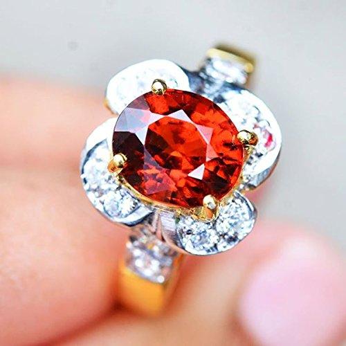18.64ct Natural Oval Orange Hessonite Garnet 925 Gold Silver Ring 7US #R by Lovemom (Image #3)