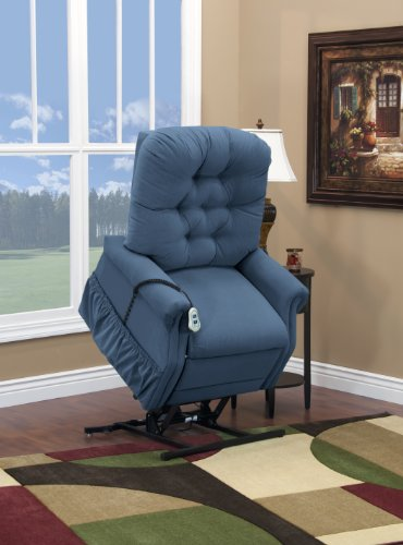 Petite Lift Chair (Medlift 1553W-AAW Wide-Petite Three Way Reclining Lift Chair, Aaron Williamsburg Blue)