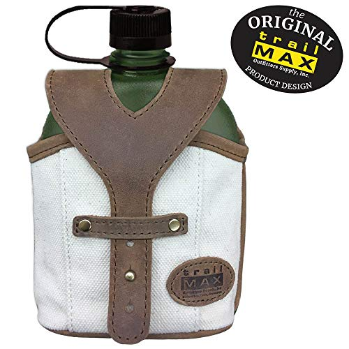 TrailMax Canvas & Leather Canteen Carrier with Nalgene Oasis BPA-Free Canteen Horse Saddlebag for Trail-Riding; Attach to Saddle Bags, Pack or Belt; Available with Stainless Steel Canteen