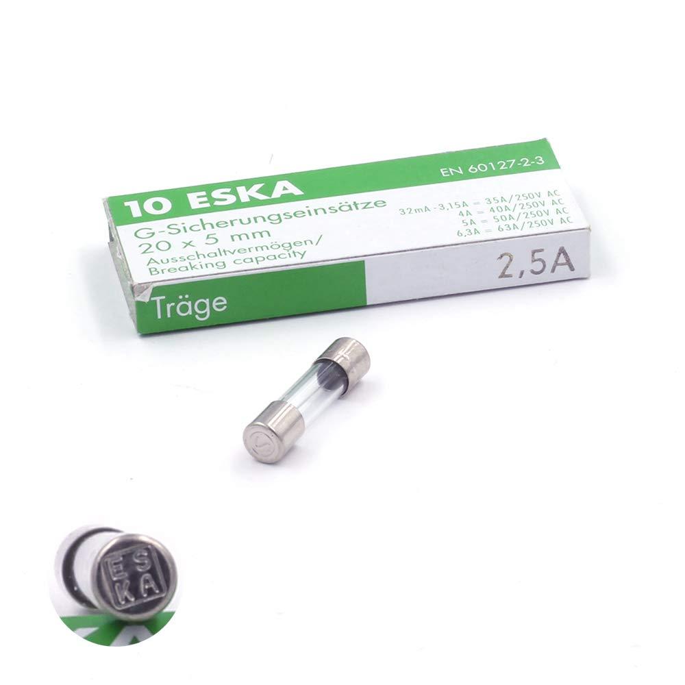 10 x Sicherung selbstschließ end (T) aus Glas 2, 5 A/250 VAC 5 x 20 mm ESKA