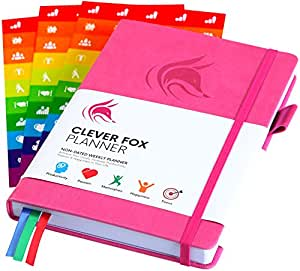 The Clever Fox Planner - Undated Weekly Planner, Organizer, Calendar and Gratitude Journal to Boost Productivity, Happiness and Hit Your Goals in 2019 - Lasts 1 Year - A5 Size - Stickers - Hot Pink