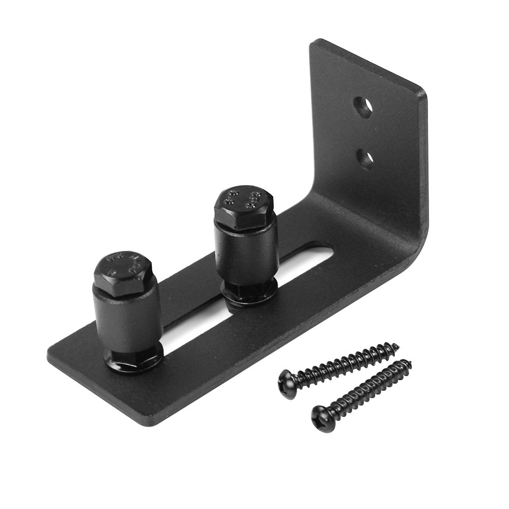 WINSOON Sliding Barn Door Guide Wall Mount Adjustable Double Roller Hardware for Bottom Black with Screws(1 Set) by WINSOON (Image #4)