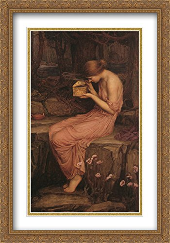 Psyche Opening the Golden Box 2x Matted 28x40 Large Gold Ornate Framed Art Print by Waterhouse, John William (Golden Box Psyche)