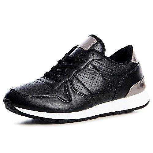 topschuhe24 1206 Damen Turnschuhe Sneaker Sportschuhe Blogger Style Metallic Schwarz