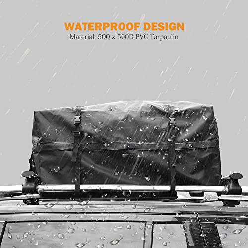 AUXMART Waterproof Rooftop Cargo Bag (15 cu. ft.) - Roof Top Soft Luggage Carrier for SUV/Van/Car (Straps to Roof Rack Crossbars or a Roof Basket) by AUXMART (Image #2)