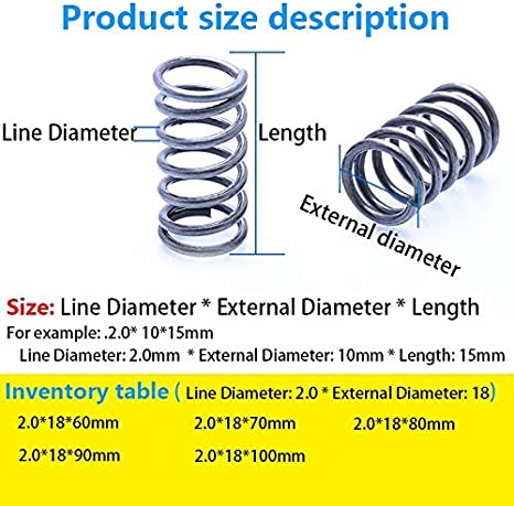 External Diameter 18mm Size : 70mm 5Pcs 5Pcs Pressure Spring Compressed Spring Retracing Spring Line Diameter 2.0mm Length 60mm-100mm