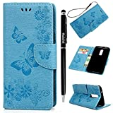 OnePlus 6 Case, Badalink OnePlus 6 Wallet Case 2018 Flexible Leather Case Durable Shock Absorption Cover Scratch Resistant Bumper Full Degree Protection Skin Shell Design for OnePlus 6 (2018) - Blue