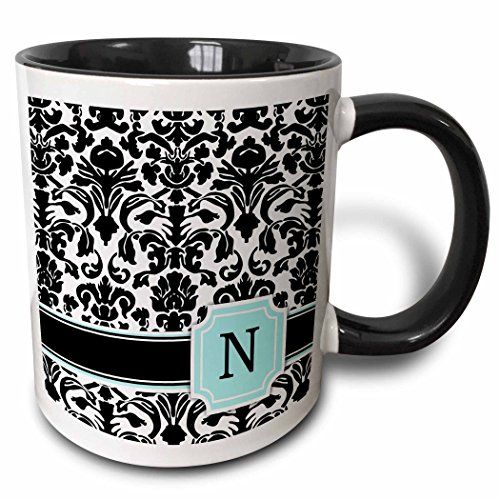 3dRose (mug_154363_4) Letter N personal monogrammed mint blue black and white damask pattern - classy personalized initial - Two Tone Black Mug, 11oz