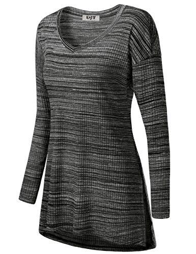 DJT Vneck Shirts for Women, Womens Casual Bohemian Blouses Floral Flare Tunic Tops for Leggings Black Gray Stripes L