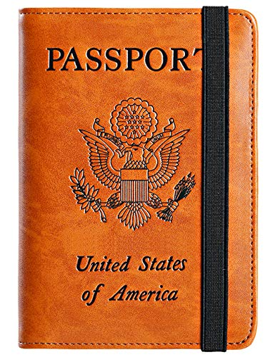 Passport Holder Cover Wallet RFID Blocking Leather Card Case Travel Document Organizer (America-Earthy Yellow)
