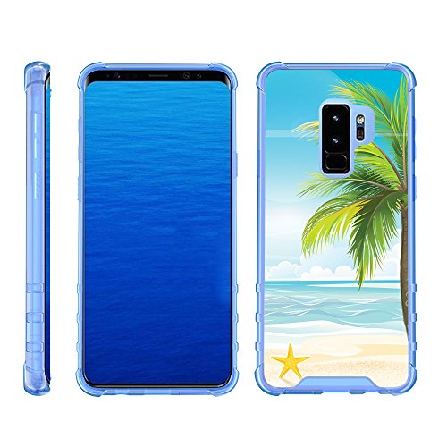 TurtleArmor | Compatible for Samsung Galaxy S9 Case | G960 [Flexible Armor] Slim Fitted Flexible TPU Case Clear Cover Shock Bumper with Blue Edges Ocean Beach Design - Beach Shore