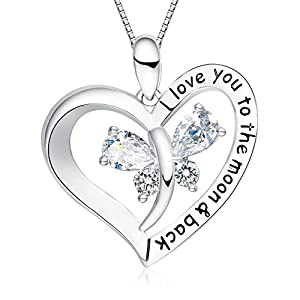 "FANCYCD Holiday Deals Week I Love You to the Moon and Back"" Love Heart Necklace, Jewelry for Women & Girls, Gifts for Girlfriend, Wife, Sister, Grandma, Mom"