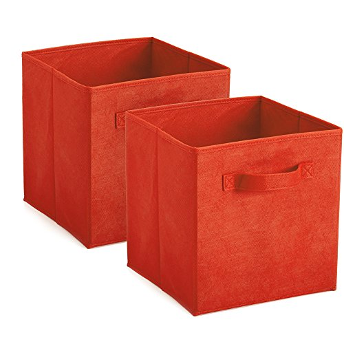 Heselian Foldable Cloth Storage Cube Basket Bins Organizer,storage bins 2 RED