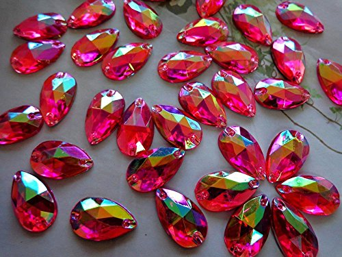 150pcs 11x18mm Drop Shape Acrylic Crystal Rose Red AB Color Rhinestones Stones Accessores Sew on Loose Beads Strass ()