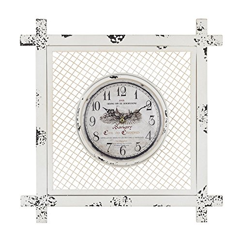 Elk Vintage Style Square mesh Frame. Wall Clock, Antique White