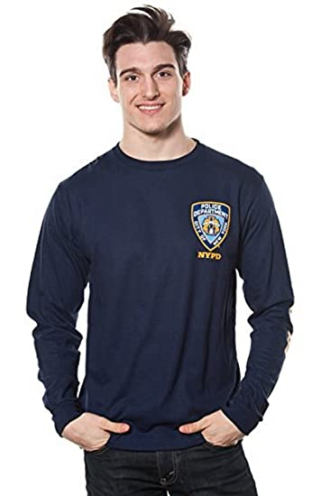 3b64f872 Amazon.com: NYPD Adult Long Sleeve Tee with Logo Patch Navy: Clothing