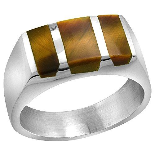 Sterling Silver Tiger Eye Ring for Men Rectangular Striped Solid Back Handmade, size 13