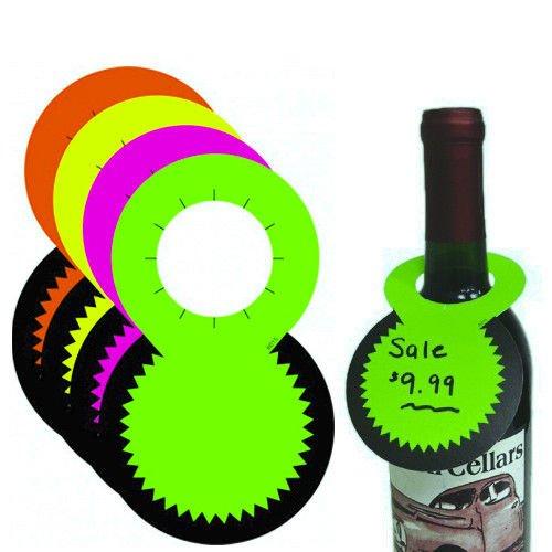 (Fluorescent Bottleneck Tags, Wine & Liquor Neon Retail Sale Signs, 1.5