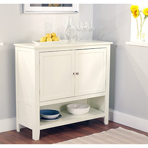 White Wooden Buffet Sideboard with Adjustable Open Shelf Cabinet