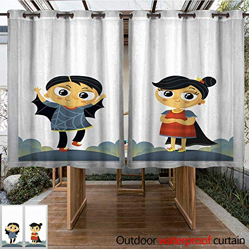 RenteriaDecor Outdoor Ultraviolet Protective Curtains Halloween Flyer templates with boy and Girl in Carnival Costumes W96 x -