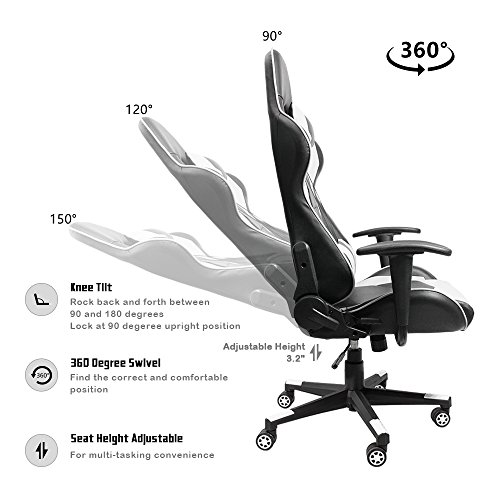 Homall Executive Swivel Leather Gaming Chair, Racing Style High Back Office  Chair With Lumbar Support And Headrest (White)