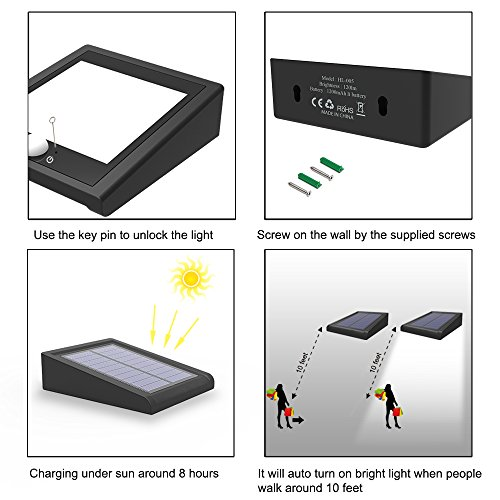 Mulcolor 4 Pack Solar Lights, Brightest 30 LED Solar Motion Sensor Light Outdoor Wireless Waterproof Solar Powered Security Light with Auto On/Off for Garden, Patio and Pathway by Mulcolor (Image #6)