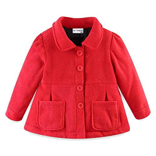 Mud Kingdom Baby Girl Fleece Jacket Coat Red 12 - Red Jacket Coat Fleece