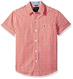 Nautica Boys' Short Sleeve Mini Gingham Color Blocked Button Down Shirt