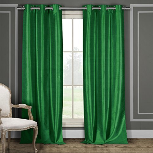 Faux Silk Grommet Top Window Curtain Pair Panel Drapes for sale  Delivered anywhere in USA