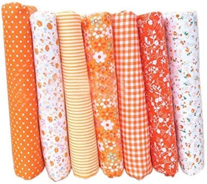 Vikenner 7pcs Naranja Tela Patchwork Telas cuadradas Algodón liso Tela de Coser Retazos Tela de algodón hecha a mano para coser cojín acolchado ropa de muñecas: Amazon.es: Hogar