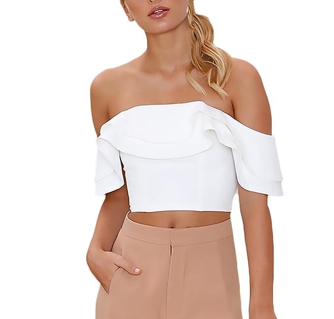 Lannister Fashion Crop Top Mujer Verano Manga Corta Sin Hombro Volantes Camisas Elegantes Moda Fiesta Blusas